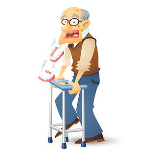 an old man with dentures